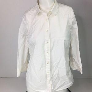 J. Crew Stretch Perfect Ivory Button Down Shirt